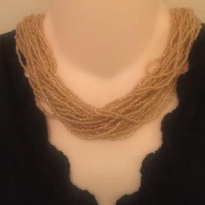 Vintage golden seed multi strand necklace choker